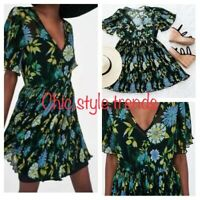 NEW ZARA HOLIDAY BLACK MINI DRESS TOP BDAY PARTY PLEATED FLORAL SKIRT XS 6 8