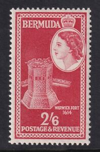 QEII Bermuda. 1953 issue unmounted mint (MNH) 2/6d stamp. Very Fine.