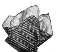 Pochette uomo seta stampata grigia nera beige micro retro style bicolor