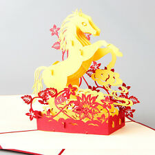 3D Paper Carving Pop Greeting Card Horse Win Instant Success Year All the Best