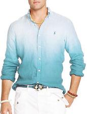 Polo Ralph Lauren Linen Button Down Long sleeve Sport Shirt BLUE DYE $125 NWT L