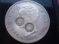 RARISIMAS 5 PESETAS AMADEO  1871 (18*71) CON 2 RESELLOS DE GOBIERNO PORTUGUES