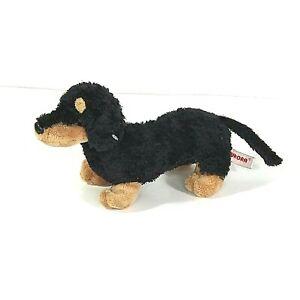 Aurora Black Brown Dachshund Weiner Dog Plush Toy Stuffed Animal 9 inch