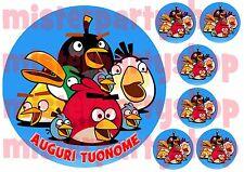 Cialda - Ostia per torte Angry Birds con 6 mini cialde dischetti ritagliati!