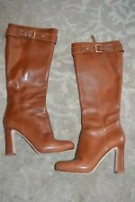 *KATE SPADE* ITALY  CHESTNUT BROWN HIGH HEELED TALL FASHION BOOTS-WOMEN'S 7 M