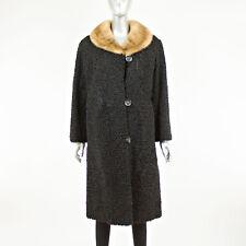 Black Persian Lamb 7/8 Coat Mink Collar - Size L