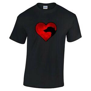 Black T-shirt, Greyhound Whippet Lurcher in Heart Design Tshirt Dog Tee Shirt