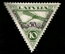 1931 Blériot XI Swastika Watermark Aviation Mint Latvia Overprinted Stamp! Plane