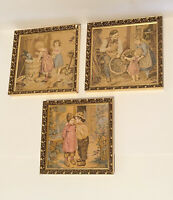 3 Vintage Colonial Embroidered Needlepoint Gold Framed Wall Art Hand Stitched
