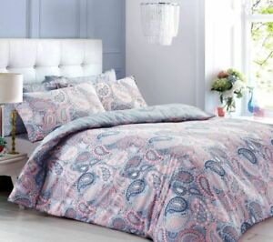 Paisley Peach/Blue Duvet Cover Set With Pillowcases Super King Size