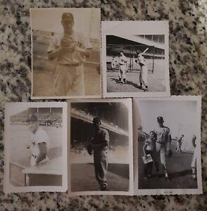 5 Snapshot Photos Yankees Jerry Coleman Woodling Frank Hiller+Larry Jackson+1
