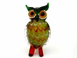 Beautiful Murano Art Glass Multi Coloured Freeform Owl Sculpture