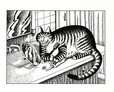 Cat Brushing Teeth Vanity Mirror on Sink Kliban Cat Print Black White Vintage