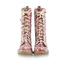 Girls Boho Floral Lace Up Canvas Riding Mid-Calf Boots Ladies Casual Flat Shoes
