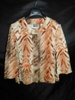 Chico's Size 2 L Brown Orange Beige Tiger Stripe Blazer Jacket 3/4 Sleeve Cotton