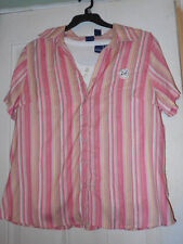 BASIC EDITIONS 2-PIECE WOMANS 2X PINK STRIPE SS CAMP SHIRT/WHITE TANK TOP NWT