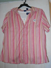 BASIC EDITIONS 2-PIECE WOMANS 1X PINK STRIPE SS CAMP SHIRT/WHITE TANK TOP NWT