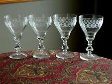 4 Elegant Crystal Glass Lg Water Goblets Bryce # 894-2 Lacy Needle Etched Design