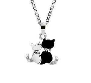Halskette Anhänger Ohrringe Silber Schwarz Spinell Katze Cat Mieze Damen Schmuck