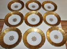 Limoges France Heavy Gold Rimmed Soup Bowls Set of 9 Snowflake Scalloped 9""