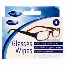 30 X OPTICAL SPECTACLE GLASSES GLASS LENS MONITOR SMEAR FREE CLEANING WIPES DW