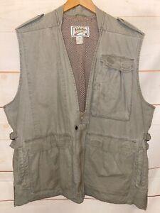 Men's CABELA'S Full Zip Up Multi-Pocket Hunting Vest 100% Cotton Beige Tan XL