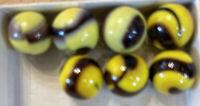 "Vintage Seven (7) Peltier Bumble Bee Marbles / Diameter 5/8"""