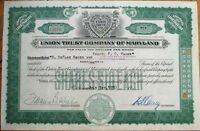'Lincoln Trust Company of Maryland' 1930 Bank Stock Certificate - Baltimore, MD