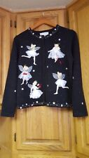 1OF LST2 GORGEUS SUSAN BRISTOL Elegant APPLIQUE ANGEL Sweater Cardigan M NEW WOW