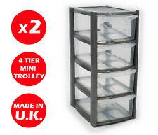 2 x 4 Cassetto-Unità a torre d'argento in plastica cassetti-Storage Organizer -