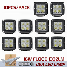10PCS 16W CREE LED Cube Pods Flood Work Light Offroad Truck Square 4WD Driving