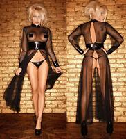 Sexy Lingerie Black PVC Long Dress Mesh Bodycon Nightwear Clubwear Fun Costome