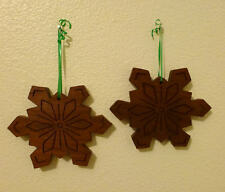2 Christmas Etched Wooden Snowflake Ornament Set- Handmade - DAV Donation