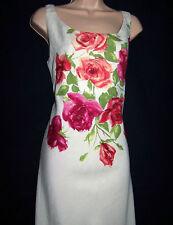 Laura Ashley Vintage Poster Printed Linen/ Silk Full Length Lined Dress UK 10/12