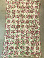 "Pink Granny Square Afghan Baby Throw Lap Blanket 58"" x 35"" Vtg Handmade Crochet"