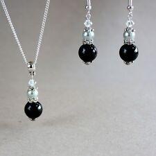 Vintage black light grey pearls silver wedding bridesmaid bridal jewellery set
