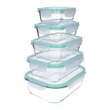 10 tlg. Glas- Frischhaltedosen Set, Klick- Deckel, Gefrier-/ Brot Dose, Lunchbox