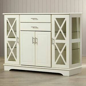 White Wooden Storage Cabinet Dining China Hutch Sideboard Cupboard Buffet Server