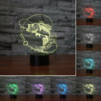 7-Color Fish 3D LED Night Light Acrylic Visual Touch Lamp Kids Desk Home Gifts