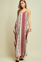 ENTRO striped paisley bohemian v-neck maxi long boho dress cocoon