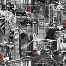 Muriva London City Wallpaper Black, White, Red (102501)