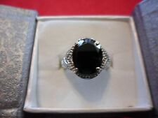 Black Spinel Oval Solitaire Ring in Stainless Steel-Size 6-5.85 Carats
