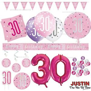 Pink 30th Birthday Party Decorations Girls Ladies Balloons Banners Age 30