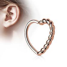 Half Braided Heart Ear Cartilage Tragus Rook Snug Daith Hoop Rings Piercing