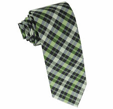 New Milani Men's necktie only green plaid wedding party formal prom