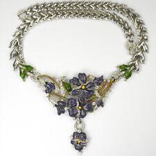 Trifari Philippe Pave & Enamel Purple Pansy Floral Spray Pendant Necklace