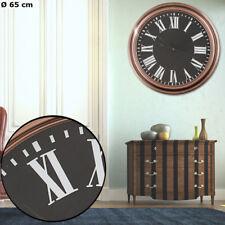 Vintage Design Holz Optik Uhr Kupfer Wand Zeit Anzeige Römische Ziffern schwarz