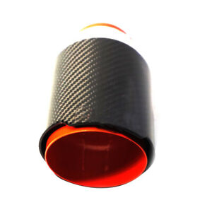 63MM IN-89MM OUT Black Carbon Fiber Car Auto Exhaust Tip Muffler Pipe Steel 1PC
