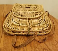 Vintage Small Wicker Fishing Creel Basket leather strap