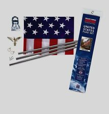 Valley Forge 3' x 5' United States US USA AMERICAN FLAG SET Pole, Mount & EAGLE